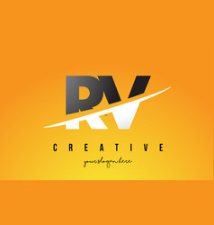Rv r v letter modern logo design with yellow vector