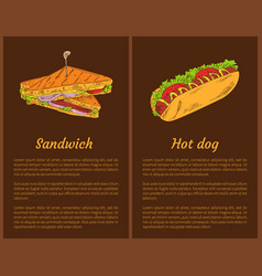 Sandwich and hot dog posters vector