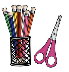 scissors pencils in a plastic glass design vector image