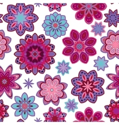 Seamless flower retro pattern in Purple vector