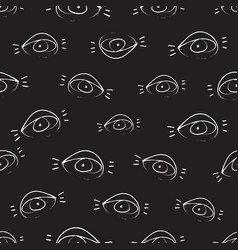 seamless pattern design with sketchy open eyes vector image