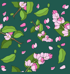 seamless pattern with flowered cherry branch vector image