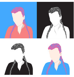 Set 4 portraits young girls woman icons vector