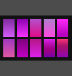 Set gradient backgrounds purple color vector