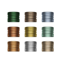 set multicolored screw bottle caps vector image