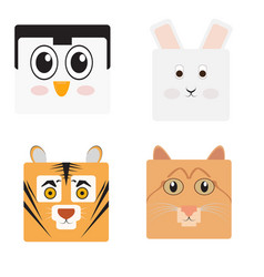 set of animal faces vector image