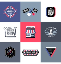 Set of barber shop logos and emblems vector