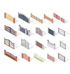 Set of Gates and Fences In Isometric Projection vector