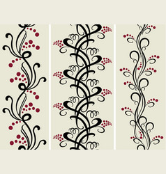 set of seamless black and red floral patterns vector image