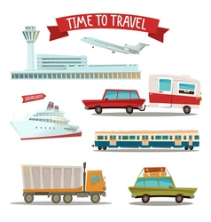Set of Transportation - Airplane Train Ship Car vector