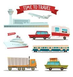 set transportation - airplane train ship car vector image