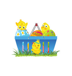 shopping basket with easter eggs and chicks vector image