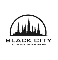 silhouette logo views city buildings vector image