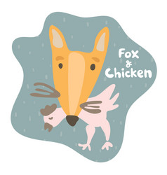 Sly fox caught prey chicken and holds in his teeth vector