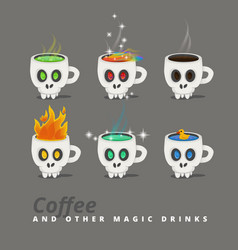 spooky halloween drinks set of icons cup like a vector image