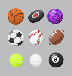 Sport balls isolated tournament win round basket vector