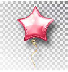 Star pink balloon on transparent background party vector