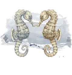 Summer background seahorse over grunge background vector image