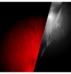 Tech red and black contrast background vector