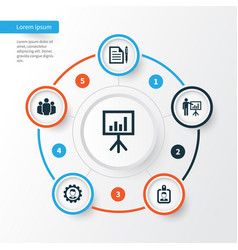 Trade icons set collection of leader presenting vector