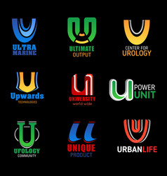 u icons corporate brand company business identity vector image