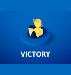 victory isometric icon isolated on color vector image
