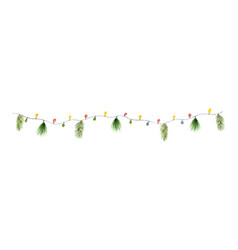 watercolor christmas colorful garland with vector image