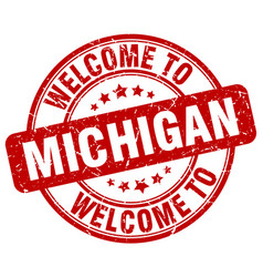 Welcome to michigan red round vintage stamp vector