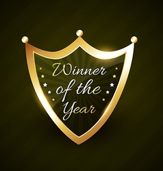 winner of the year golden shiny label badge vector image