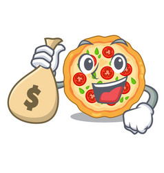 With money bag margherita pizza in a cartoon oven vector