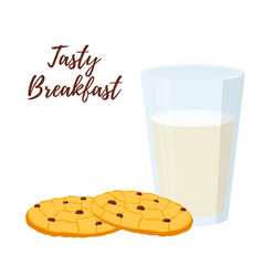 breakfast milk glass cup oatmeal cookies vector image