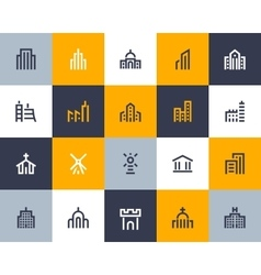 Building icons Flat style vector image