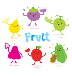 cute fruit cartoon vector image vector image