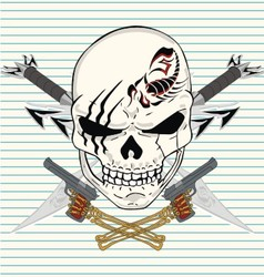 sword skull gun vector image vector image