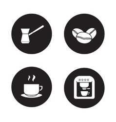 Coffee appliances black icons set vector image vector image