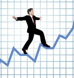 Entrepreneur climb start up chart vector image