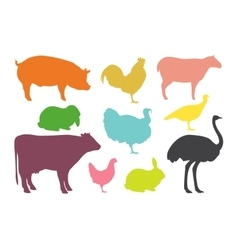Farm animal silhouettes vector image vector image