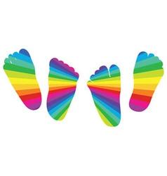 happy rainbow childrens feet vector image vector image