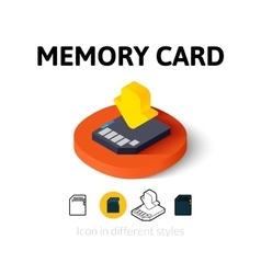 Memory card icon in different style vector image vector image