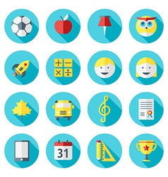 School and education icons set in flat design vector image vector image
