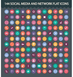Social media and network flat icons vector