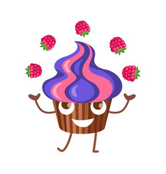 sweets fruit cupcake juggle with four raspberries vector image