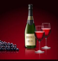 two wineglass of champagne with bottle and grapes vector image