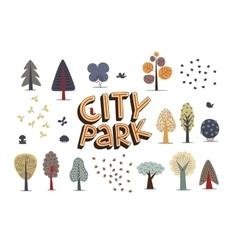 City park set white vector image