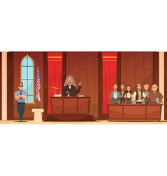 Court of law retro cartoon poster vector