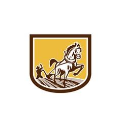 Farmer and Horse Plow Farm Crest Woodcut Retro vector image vector image