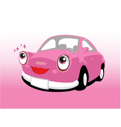 funny smiling cute pink car vector image vector image