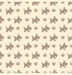 pattern with dog and paws vector image vector image