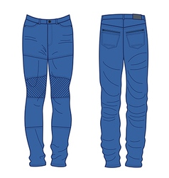 Unisex outlined template jeans front back view vector image vector image