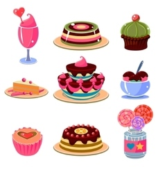 Bright Dessert Icons Set vector image